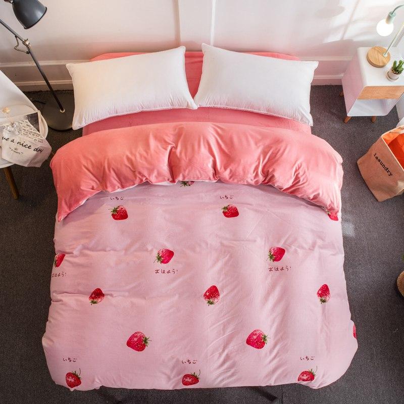 Maison textile hiver chaud rose literie fraise baleine coton + cristal flanelle polaire housse de couette doux enfants/adulte/fille literie