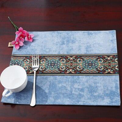 Лоскутный с вышивкой кружевное китайские столовые приборы стол колодки Статуэтка винтажный Европейский стиль бархатная ткань Настольный коврик - Цвет: Небесно-голубой
