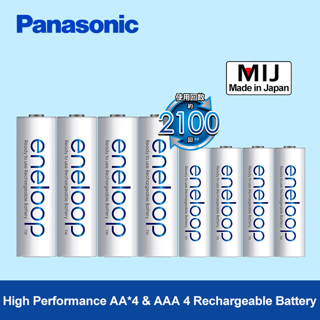 Panasonic eneloop 4 aa (2000 mAh) + 4 aaa (800 mAh) סוללות נטענות NiMH חבילות 1.2 v precharge דיגיטלי סוללה למצלמת צעצועים