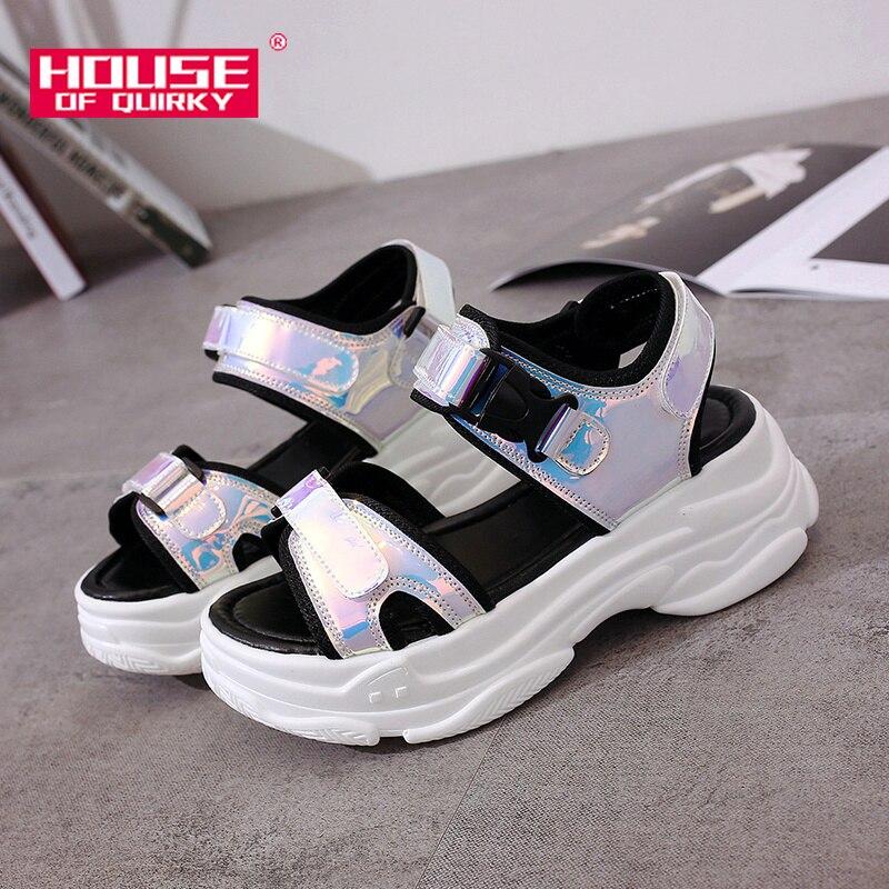 Sexy Open-toed Frauen Sport Sandalen Keil Aushöhlen Frauen Sandalen Außen Cool Plattform Schuhe Frauen Strand Sommer Schuhe 2019 neue