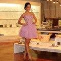 Mangas Mini júnior meninas rosa vestidos curtos Prom 2015 doce 16 vestido de festa com miçangas flores e gravata borboleta