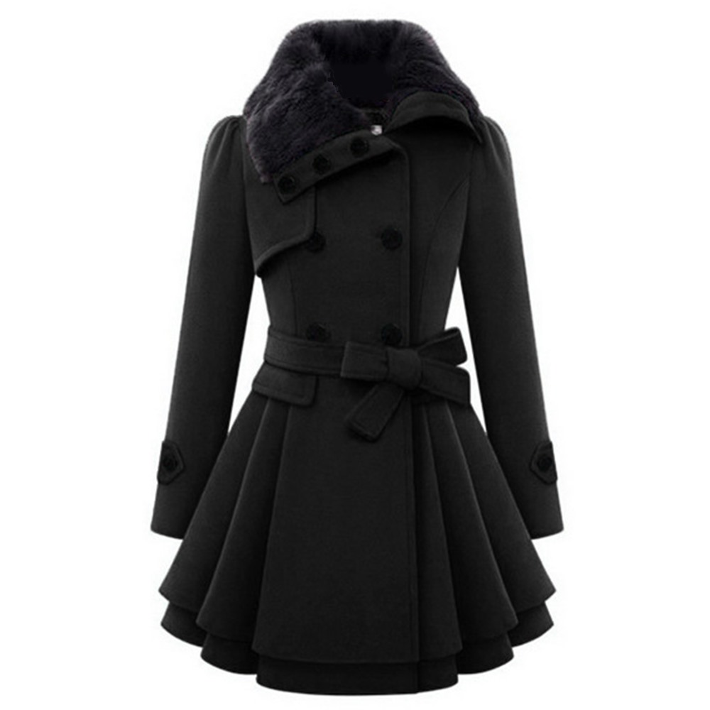 2019 Winter Warm Gothic Casual Black High Street Plus Size Women Overcoats A Line Lapel Plain Belt Button Girls Fashion Coats