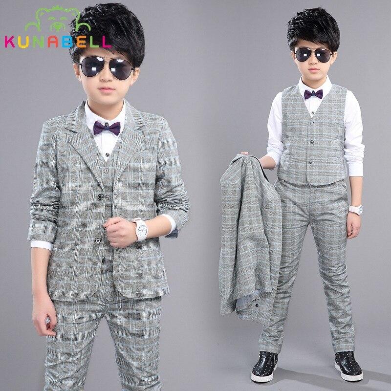Boys Formal Suits Weddings Birthday Brand Child Kids Fashion Party Tuxedos Boys Plaid Formal Suits Blazer Vest Pants 3pcs H027