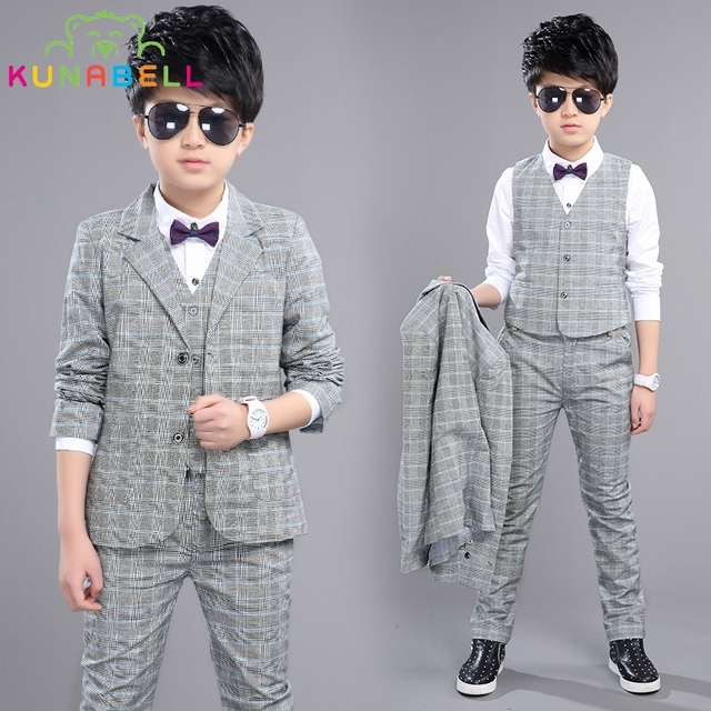 0d175ef88071c Boys Formal Suits Weddings Birthday Brand Child Kids Fashion Party Tuxedos  Boys Plaid Formal Suits Blazer Vest Pants 3pcs H027-in Clothing Sets from  ...