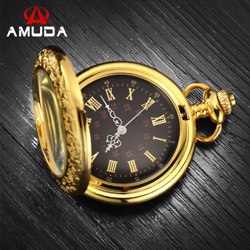 Roman Numerals Pocket Watches Steampunk Antique Pocket Watch With Chain Luxury Brand AMUDA Quartz  Gold Pocket Watch roman numerals skeleton watches steampunk pocket watch with chain 2 sides open case luxury brand mechanical pocket watch