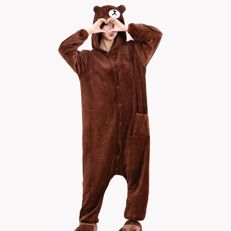 Animal Onesie Plush Size XXL Bear Kigurumi 150-190 Cm Adult Women Men Pajama Sleep Overall Polar Fleece Zipper Jumpsuit Brown