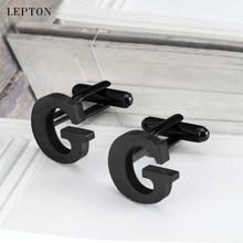 hot deal buy lepton stainless steel cufflinks for mens ip black gun metal letters g cuff links men french shirt cuff cufflink relojes gemelos