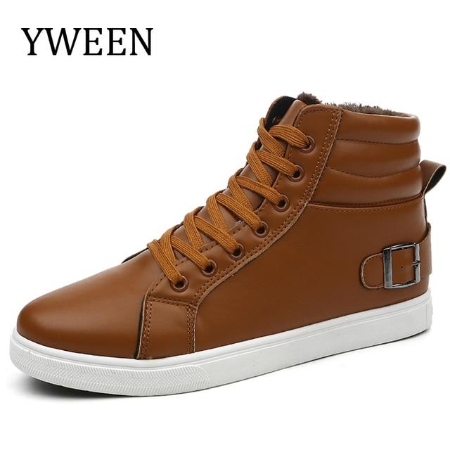 Hombres Botas Casual Zapatos de Invierno con cordones de Estilo Tendencia de La Moda de Cuero de La Pu De Goma Plana Con Zapatos de Hombre Botines Venta caliente