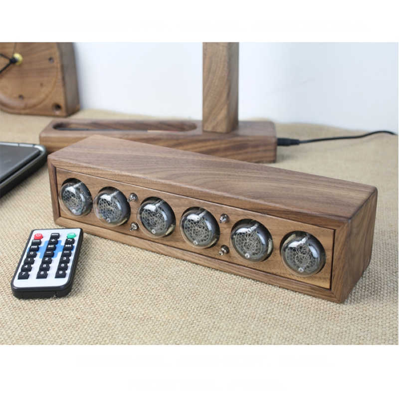 Glow digital electronic tube clock black walnut solid wood digital QS30 SZ8  digital tube DIY Retro with Remote controller