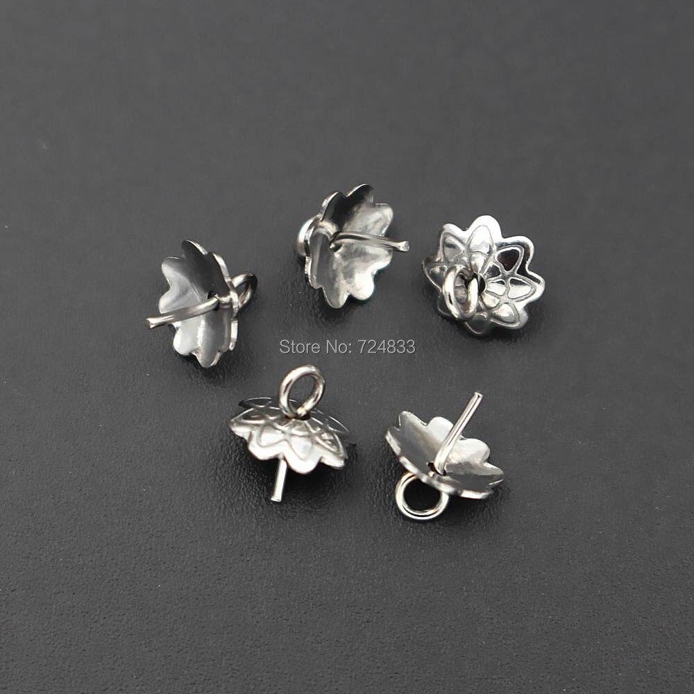 Wholesale Lots Silver Tone Flower Connectors Findings 10*18mm