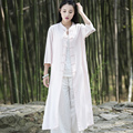 Chinese style Solid White Pink Women Long Blouse Shirt Brand Design Summer Casual Shirts Blouses Vintage Novelty Long Tops B117