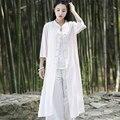 Estilo chino Sólido Blanco Rosa Larga de Las Mujeres Camisa de La Blusa de Diseño de Marca de Verano Camisas Casuales Blusas Vintage Novedad Tops Largos B117