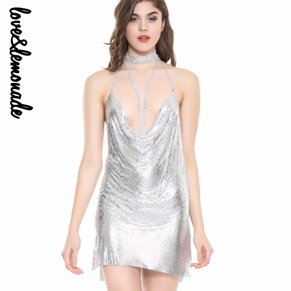 Love&Lemonade Sexy Halter Metal Party Party Dress Gold