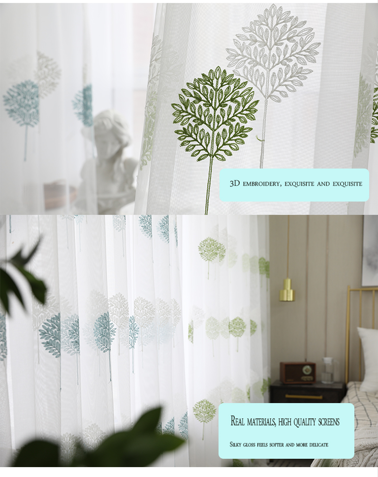 Embroidery Leaves Windows Voile Best Children's Lighting & Home Decor Online Store