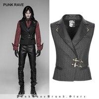 PUNK RAVE New Steampunk Black Brown Striped Men's Waistcoat Gothic Leather Decoration Retro Palace Men Vest Emo Visual Kei