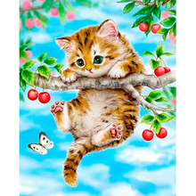 2017 cheery tree and cute cat print 5D Diamond Animal Painting Embroidery Cross Crafts Stitch Home Decor wholesale 30*40CM A2000