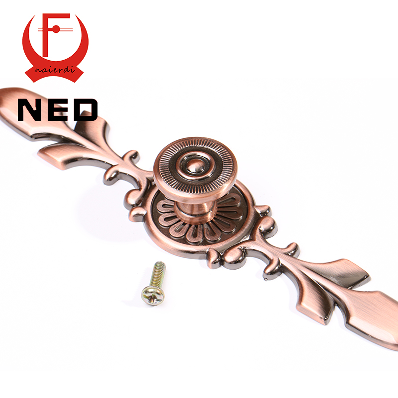 NED 120MM Red Bronze Handles Kitchen Door Cupboard Zinc Alloy European Retro Wardrobe Furniture Handle Drawer Pull Cabinet Knobs