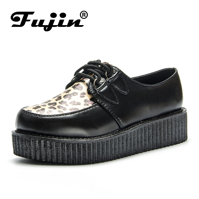Fujin Spring Leopard Leather Black Autumn Solid Casual Women Shoes Flat Platform Lace Up Creepers Ladies Shoes Round Toe fashion tassels ornament leopard pattern flat shoes loafers shoes black leopard pair size 38
