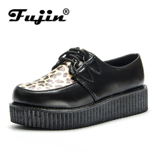Fujin Spring Leopard Leather Black Autumn Solid Casual Women Shoes Flat Platform Lace Up Creepers Ladies Round Toe