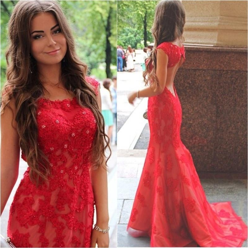 Cap Sleeve Mermaid Lace Red Evening Dresses 2019 O-Neck Applique Crystal Backless Prom Dresses New Arrival Sweep Train Gowns