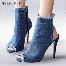 size 34-43 Women Sandals Denim New Summer Gladiator Ankle Boots Fashion Peep Toe Zipper Thin High Heel Pumps Office Lady Shoes цены онлайн