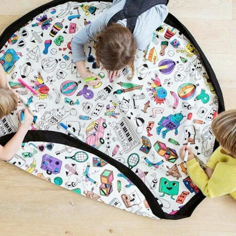 все цены на Portable baby play mat toys storage bag children colorable carpet mat Kids educational DIY playmat floor carpet Toy organizer D3 онлайн