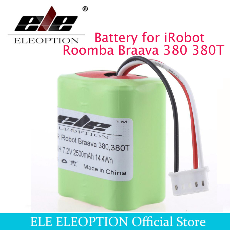 Eleoption 2.5Ah 2500mAh Ni-MH 7.2V Rechargeable Battery for iRobot Roomba Braava 380 380T