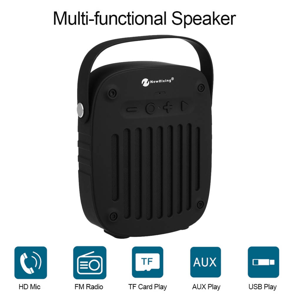 Wireless Bluetooth Speaker NR-4014 Stereo Sound Box Bass Subwoofer FM Radio AUX IN TF Card Slot Microphone Handle