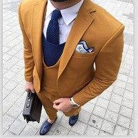 На заказ мужские костюмы желтый твид smart повседневные комплекты деловые Свадебные уличный костюм slim fit мужской смокинг куртка брюки жилеты