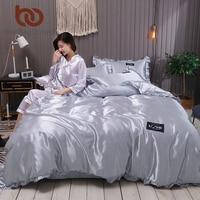 BeddingOutlet Satin Silk Bedding Set Queen Luxury Duvet Cover Solid Color Bed Set Faux Silk Bed Sheet 3/4pcs Bed Linen Drop Ship