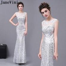 bd6920012121d JaneVini Sparkly Gümüş Sequins Akşam Parti Elbise Mermaid Aplikler Boncuklu  Gelinler Anne Elbise Düğün için Resmi Uzun Cüppe