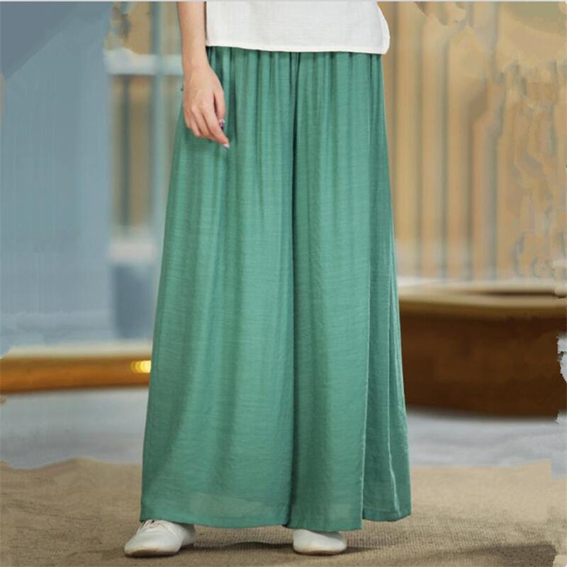 2020 Women Summer High Waist Wide Leg Pants Tie On Side Casual Straight Trousers Solid Cotton Female Pants Plus Size 6XL 7XL