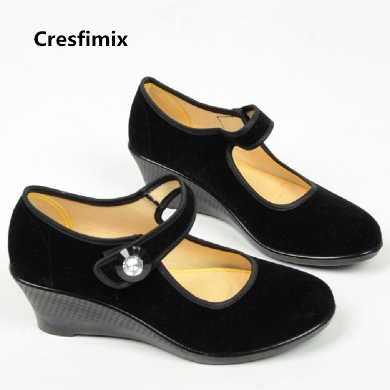 Mode Noir Accrue Chaussures b Travail A2387 Talon Taille Femme Hôtel Danse A Compensé De Cresfimix Confortable Dame 1w5YTqa