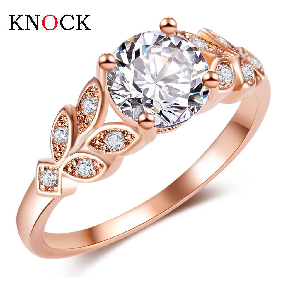KNOCK Wedding Crystal Silver Color Rings Leaf Engagement Gold Color Cubic Zircon Ring Fashion New Brand Bijoux For Women Jewelry
