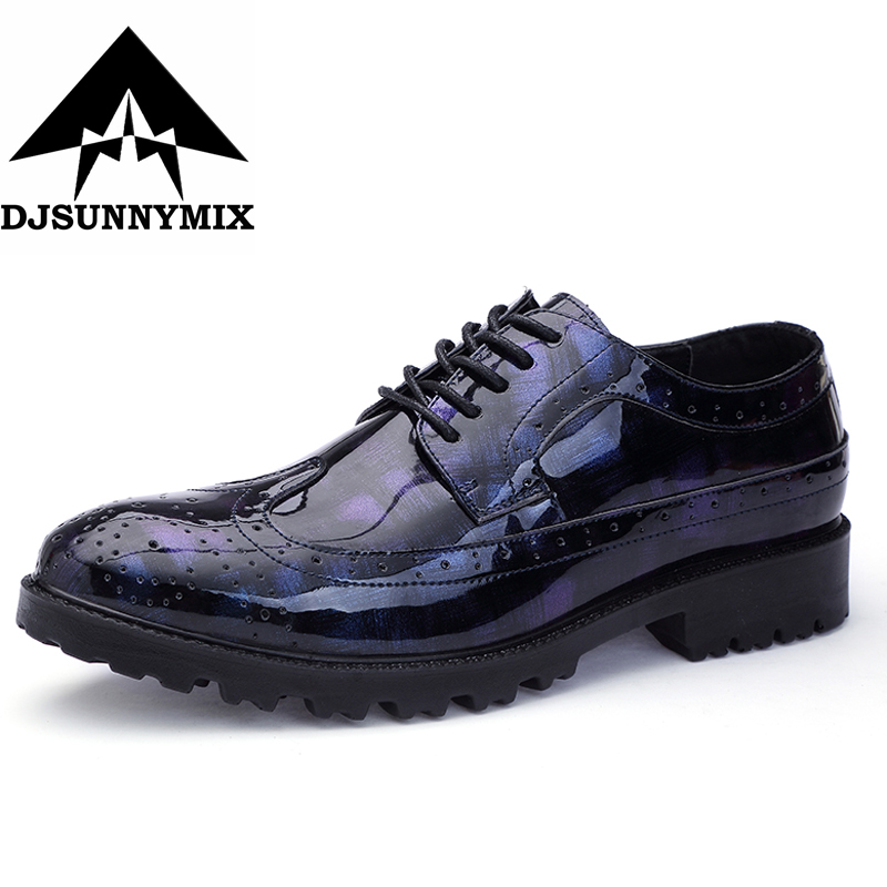 DJSUNNYMIX New Men Shoes Leather 2018 Spring Summer Casual Dress Business Shoes Oxfords Outdoor Mens Flats Plus Size 38-47 Man 2016 new fashion men leopard cotton fabric shoes british mens flats smoking slippers men loafers casual shoes plus size 4 17