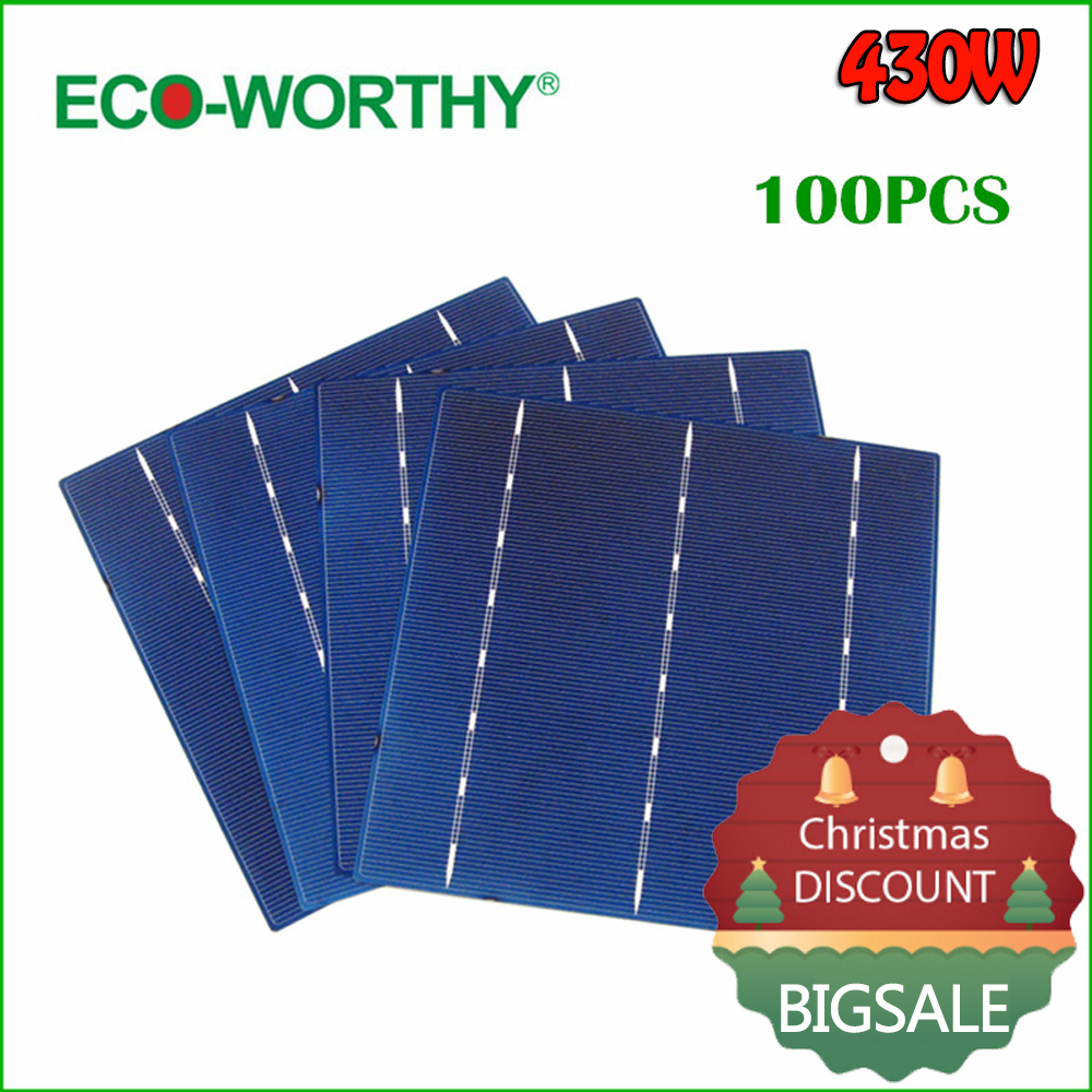 ECO WORTHY 100pcs Polycrystalline Silicon Solar Cell 6x6 Diy 12v Solar Panel Battery Charger Photovoltaic Cell