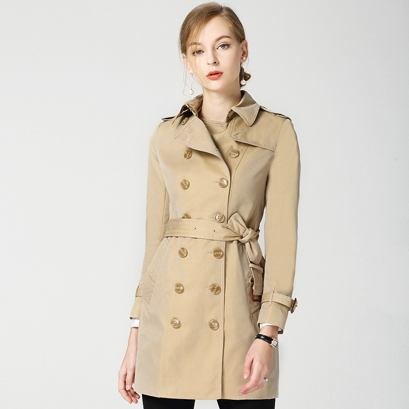 2019 British Style Double breasted Khaki   Trench   Coat Womens Elegant Casual Coat Autumn Winter   Trench   Coat for Women