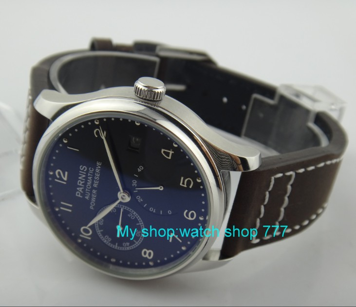 43 mm PARNIS black dial <font><b>ST2530</b></font> Automatic Self-Wind movement men's watch power reserve Casual watch wholesale rnm4a image