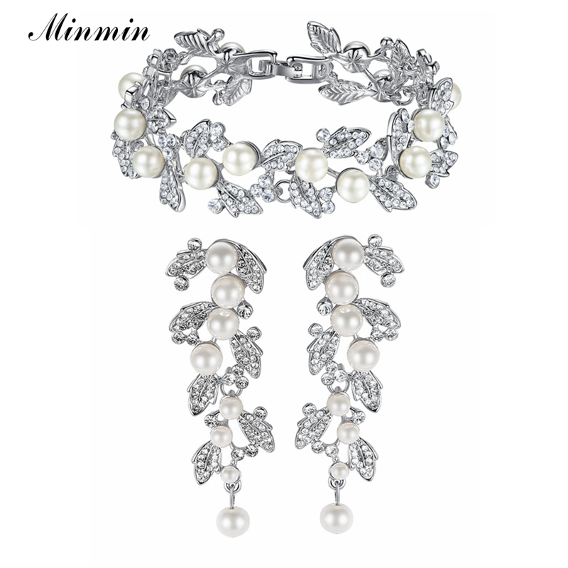 Minmin Statement Simulated Pearl Wedding Jewelry for Women Silver Color Crystal Earrings Bracelet Bride Jewelry Sets SL089+EH604