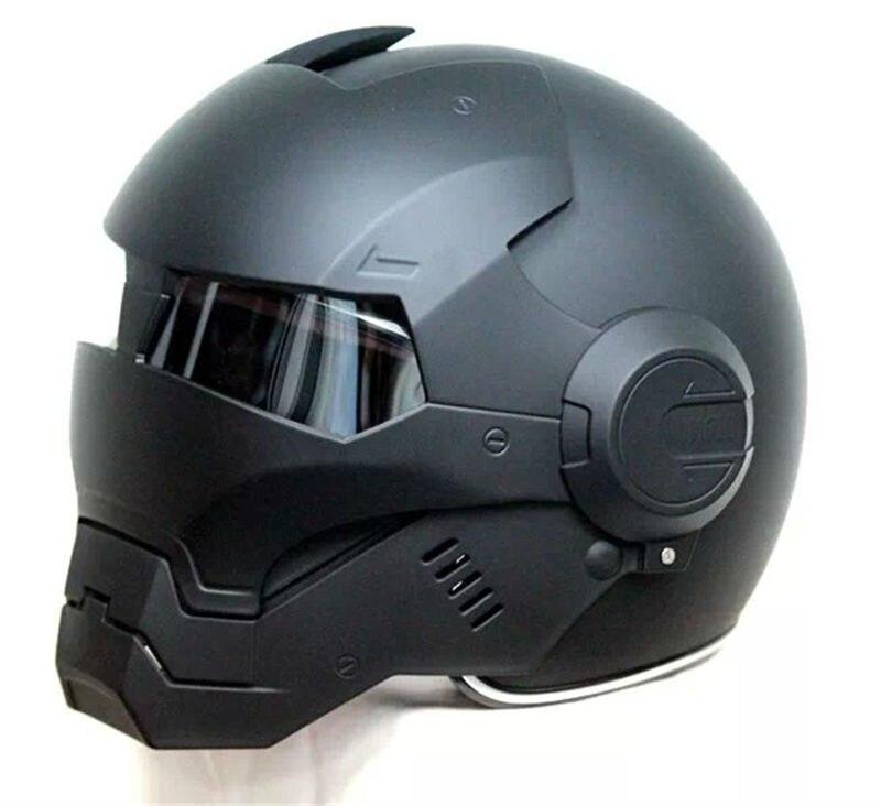 2016 Top hot Black MASEI IRONMAN Homem De Ferro capacete da motocicleta capacete metade capacete aberto da cara do capacete casque motocross 610 TAMANHO: M L XL