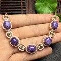 925 sterling silver natural bracelete de cristal Violeta para as mulheres pulseiras jóias da moda para as mulheres
