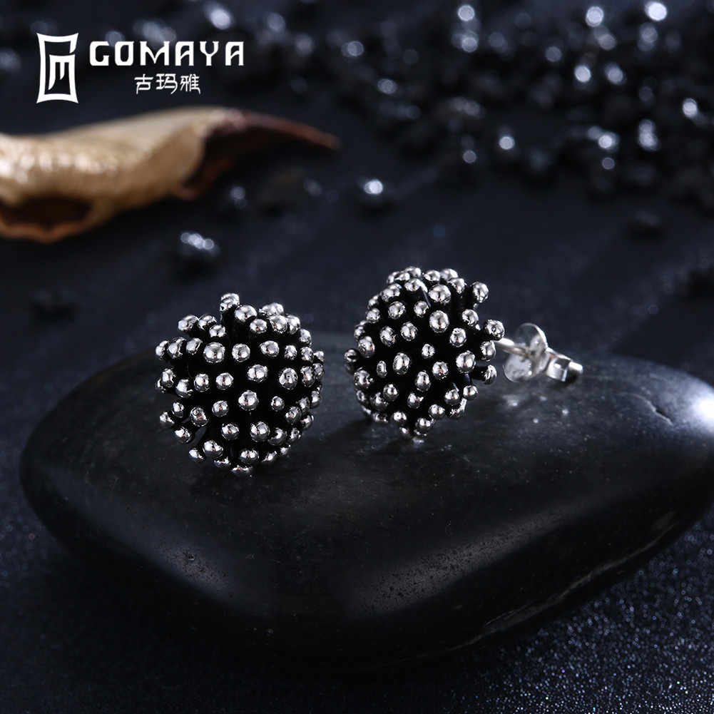 a9a4e099b GOMAYA Women Retro Vintage Tiny Flower Stud Earrings 925 Sterling Silver  Charm Punk Style Fine Jewelry