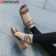 Smirnova sandalias de cuña informales para mujer, zapatos de tacón bajo de piel auténtica con hebilla, talla grande 34 43, para verano, 2020