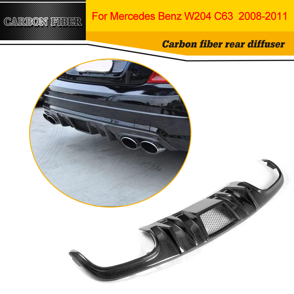 C Class carbon fiber car rear bumper lip diffuser for Mercedes Benz W204 C63 AMG Sedan 4 Door Only 2008 2009 2010 2011 yandex mercedes x156 bumper canards carbon fiber splitter lip for benz gla class x156 with amg package 2015 present