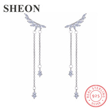 SHEON 100% 925 Sterling Silver Dazzling Angel Wings With White CZ Long Stud Earrings for Women Authentic Jewelry