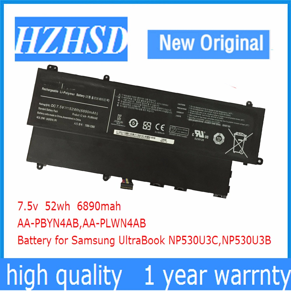 7.5 V 52Wh New Original AA-PLWN4AB Batterie D'ordinateur Portable pour Samsung AA-PBYN4AB 530U3B 530U3C 535U3C 532U3X 540U3C
