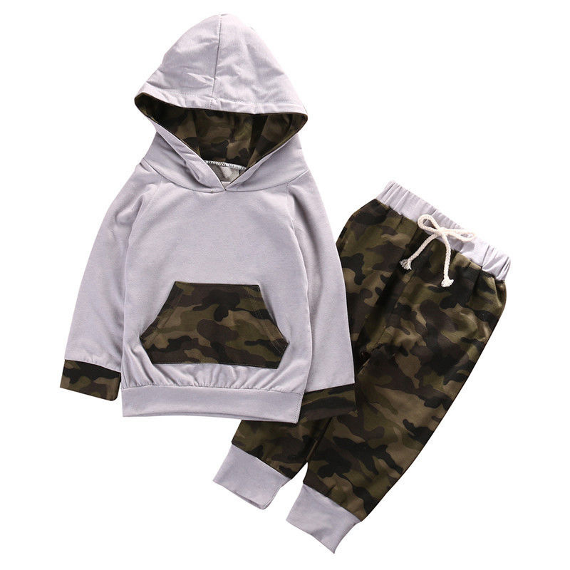 2pcs Newborn Infant Baby Boy Girls Clothes Hooded T-shirt Tops+Pants Outfits 70
