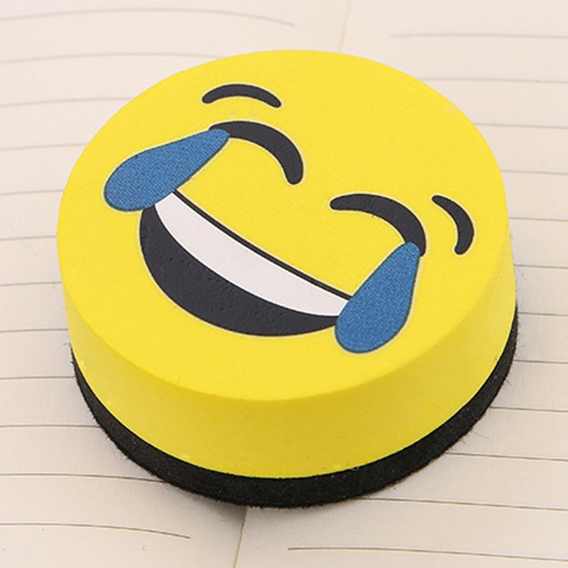 1pcs Yellow Smile Face Whiteboard Eraser Magnetic Board Erasers Wipe Dry School Blackboard Marker Cleaner 4 Styles Randomly Sent image