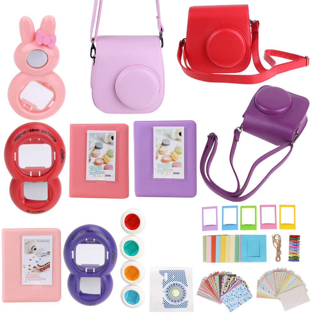 Red Pink Purple 9 in 1 Instant Film Camera Album Bundles Kit Photo Frame Sticker Camera