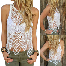 Women's Summer Sexy Casual Hollow Lace Crochet Sleeveless Blouse Tank Top New Arrival